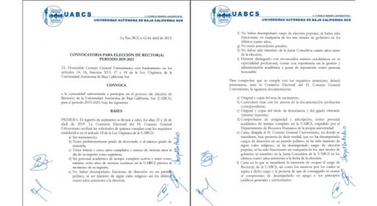 Quedó abierta la convocatoria para elección de Rector en la UABCS