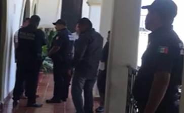 Movilización policiaca en Palacio Municipal