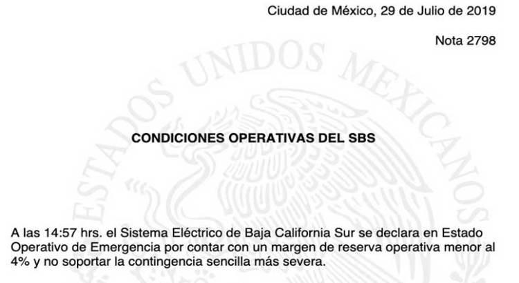 """En """"estado de emergencia"""" el Sistema eléctrico de BCS"""