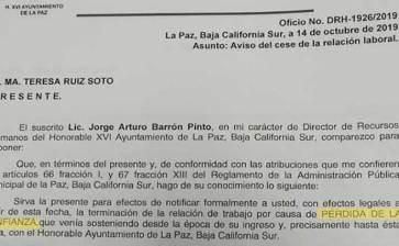 """""""Pérdida de confianza"""", la causa del despido de funcionarios municipales"""