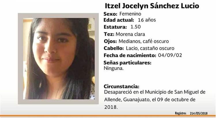 ¿Has visto Itzel Jocelyn Sánchez Lucio?