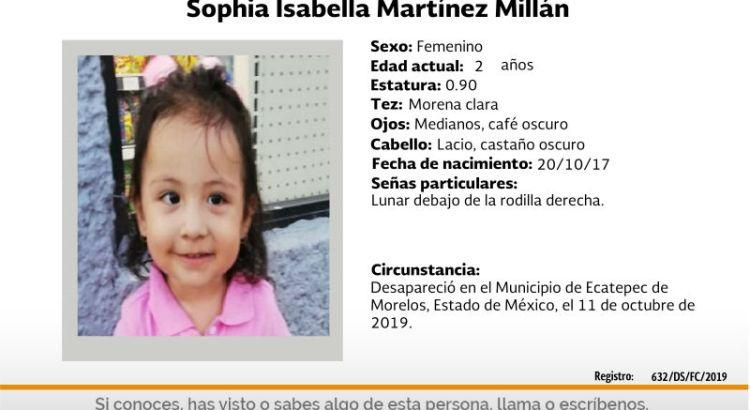 ¿Has visto a Sophia Isabella Martínez Millán?