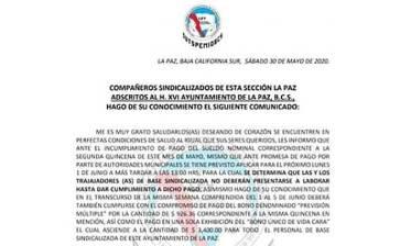 Irán a paro trabajadores del Ayuntamiento de La Paz