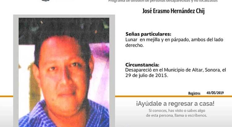¿Has visto a José Erasmo Hernández Chij?