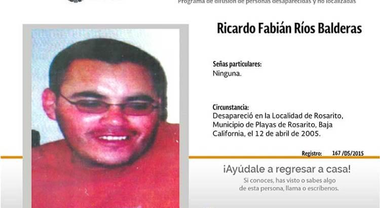 ¿Has visto a Ricardo Fabián Ríos Balderas?