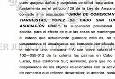 Ganan suspensión en amparo la Unión de Comerciantes y Tianguistas de CSL