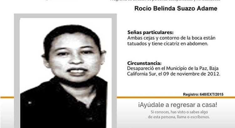 ¿Has visto a Rocío Belinda Suazo Adame?