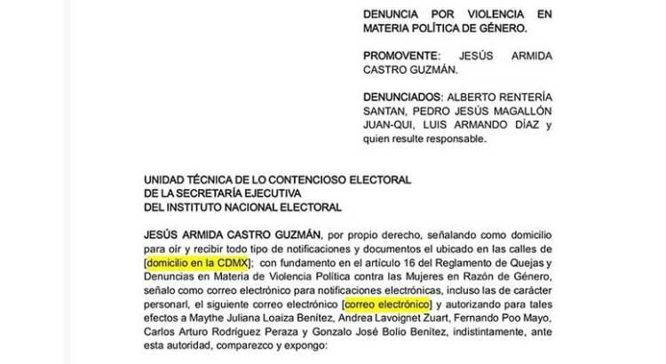 Ante el INE denuncia Armida Castro a Alberto Rentería  y Luis Armando Díaz