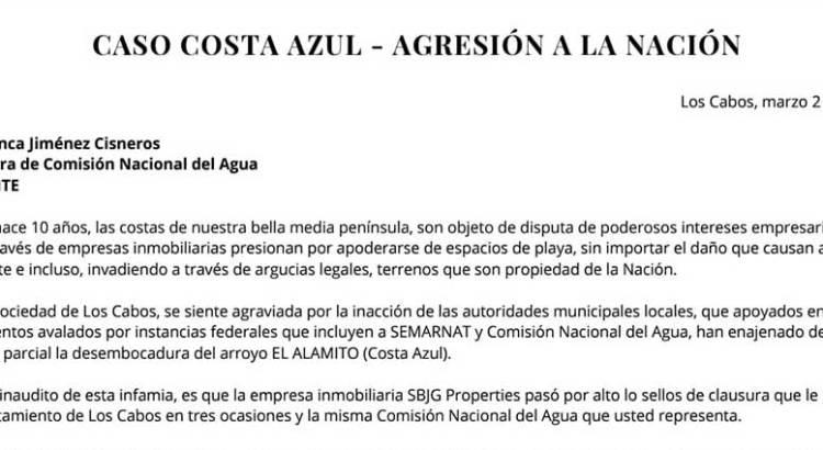 Exigen la intervención de la titular de CONAGUA en el caso Costa Azul