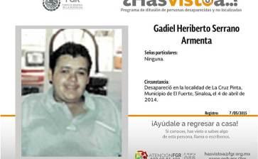 ¿Has visto a Gadiel Heriberto Serrano Armenta?