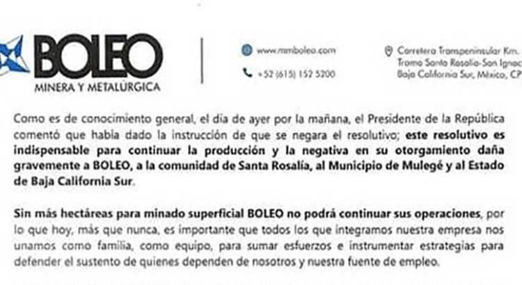 """""""Sin más hectáreas para minado superficial el Boleo no podrá continuar"""""""