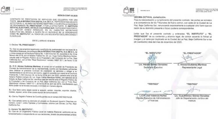 Que explique el IEEBCS el contrato otorgado a Alonso Gutiérrez