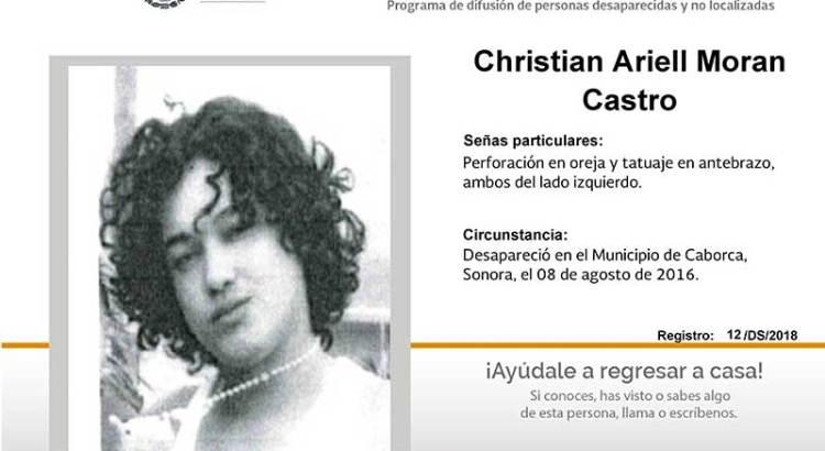 ¿Has visto a Christian Ariell Moran Castro?