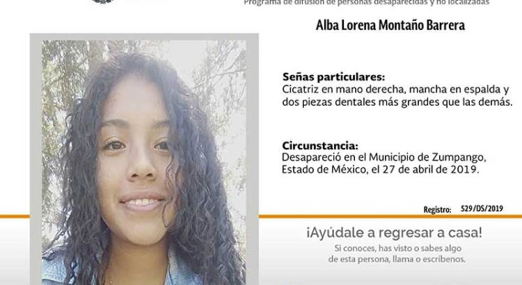 ¿Has visto a Alba Lorena Montaño Barrera?
