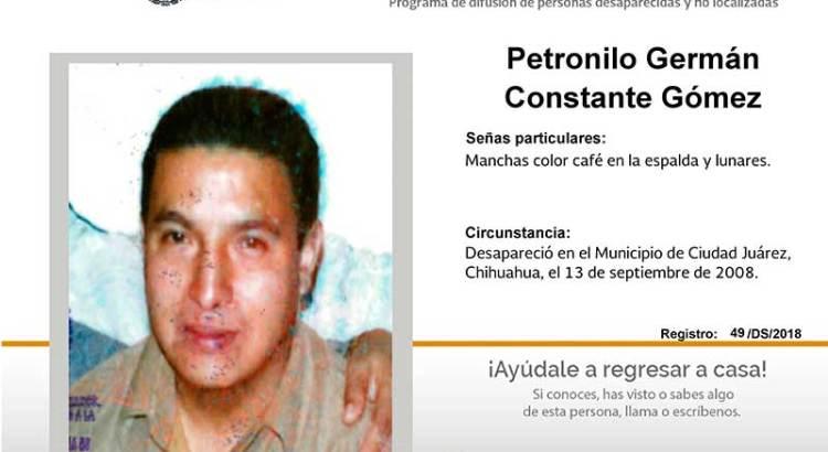 ¿Has visto a Petronilo Germán Constante Gómez?