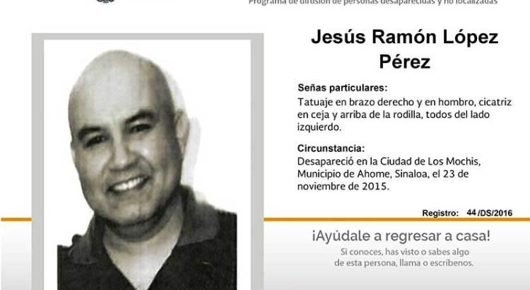 ¿Has visto a Jesús Ramón López Pérez?