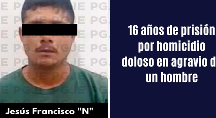 Pasará homicida 16 años en prisión