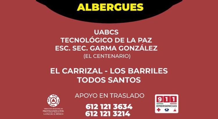 Habilitan albergues en el municipio de La Paz