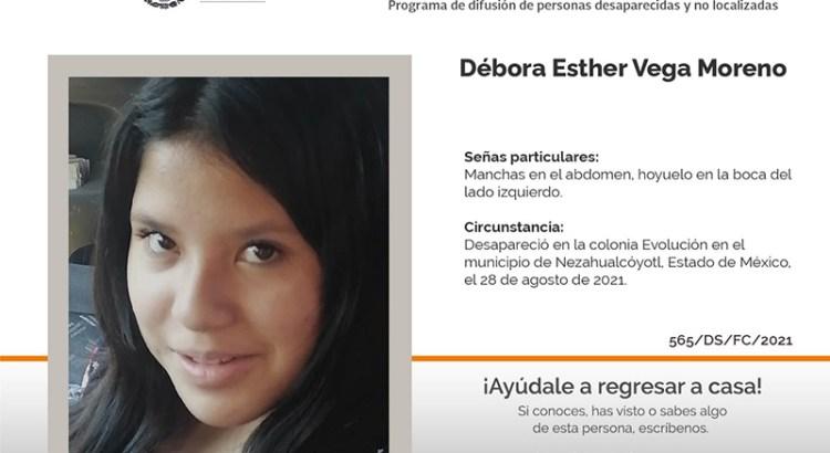 ¿Has visto a Débora Esther Vega Moreno?