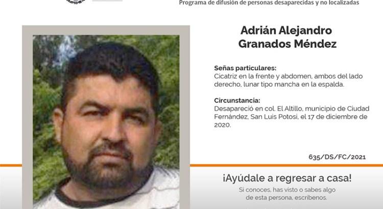 ¿Has visto a Adrián Alejandro Granados Méndez?