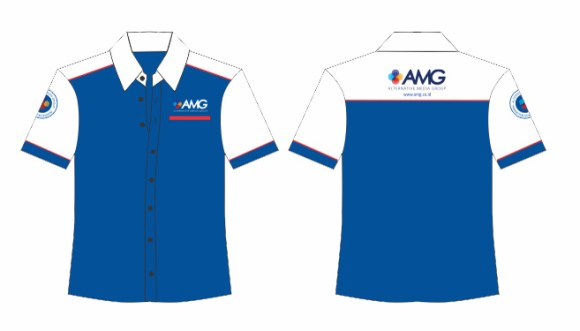 baju seragam kantor kombinasi biru