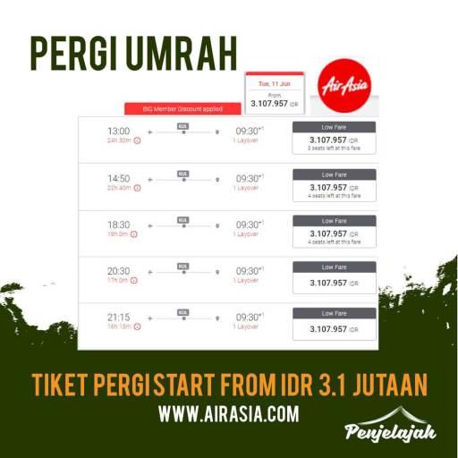 Info tiket pesawat murah Jakarta (CGK) - Jeddah (JED) bulan Juni 2019