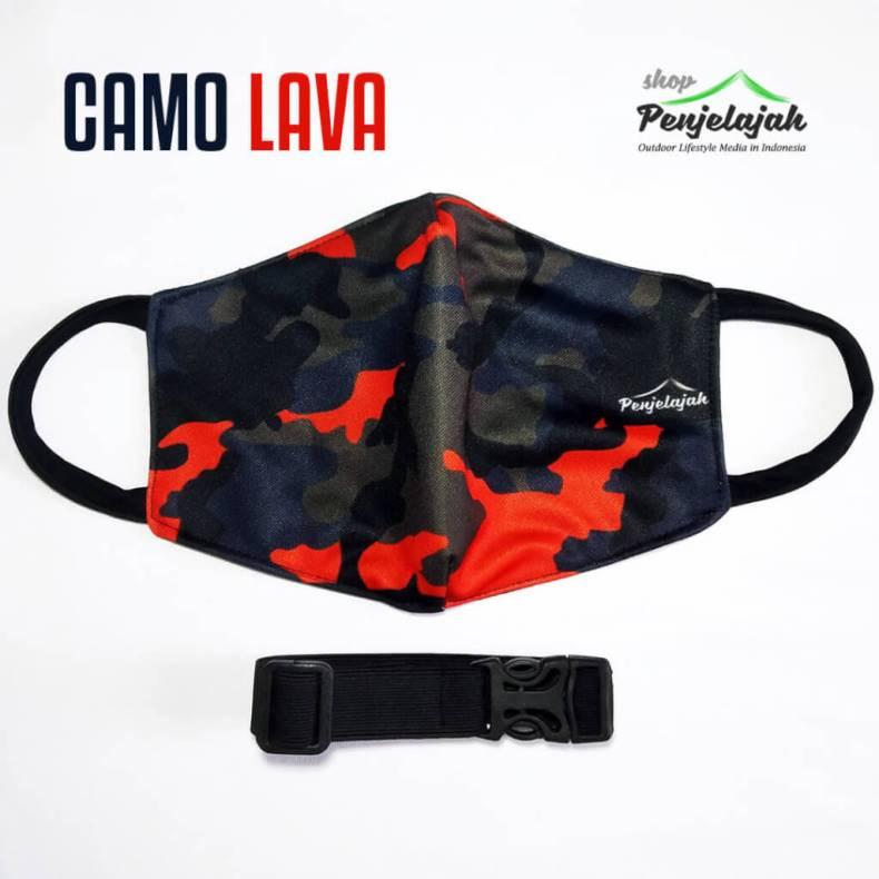 Masker pria keren untuk petualang - printing sublim tema CAMO LAVA