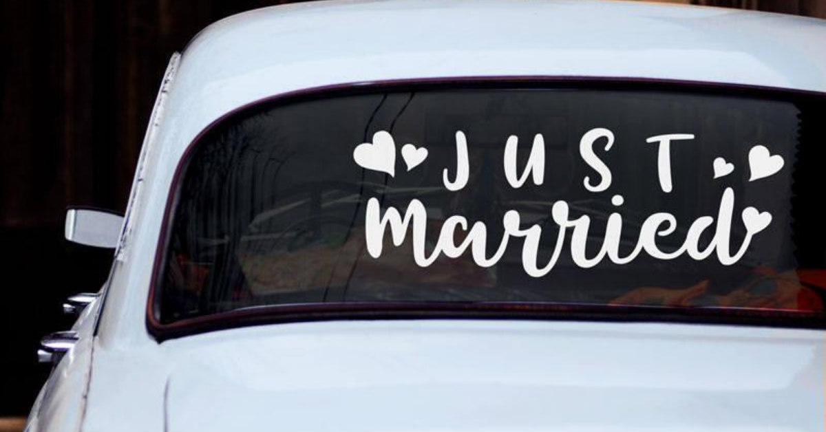 baru saja menikah stiker di atas kaca