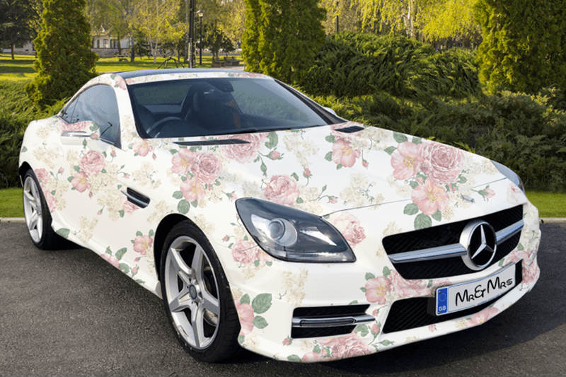 desain bunga bungkus mobil