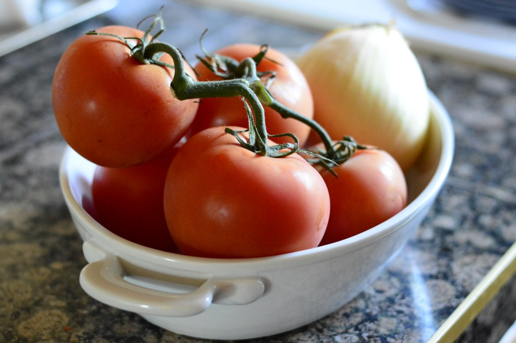 Tomatoes and Onions for Oven Roasted Tomato Soup Recipe