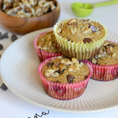 Flourless Banana Oat Muffins with Walnuts and Chocolate Chips