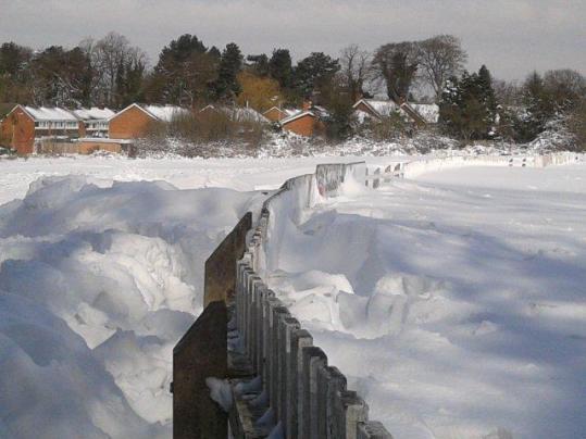 Snow drifts at Penn