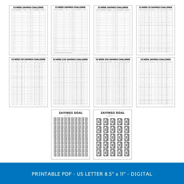 52 Week Savings Challenge Tracker Printable Bundle | Money Challenge Trackers | Savings Tracker PDF 1