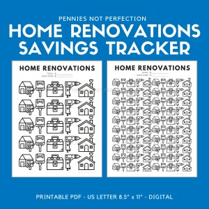 Home Renovations Savings Goal Tracker | Home Reno Savings Tracker