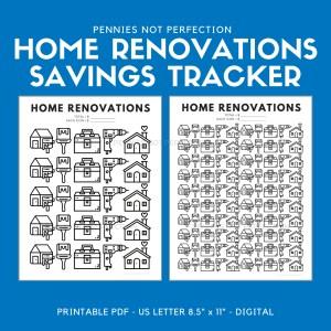 Home Renovations Savings Goal Tracker | Home Reno Savings Tracker