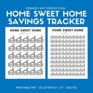 Home Sweet Home Savings Goal Tracker | Home Savings Tracker Printable 6