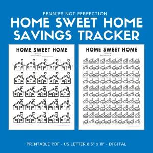 Home Sweet Home Savings Goal Tracker | Home Savings Tracker Printable 6