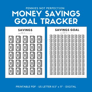 Money Savings Goal Tracker | Dollar Bills Savings Tracker Printable 1