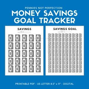 Money Savings Goal Tracker | Dollar Bills Savings Tracker Printable 1