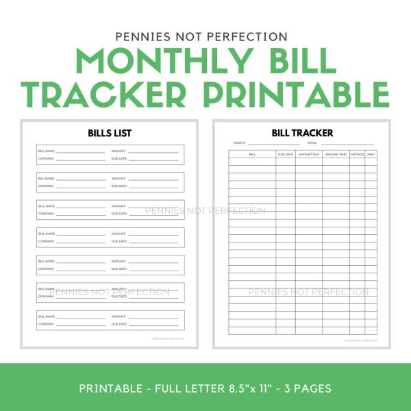 Monthly Bill Tracker Printable | Monthly Bills Tracker Neutral Page Printable PDF 2
