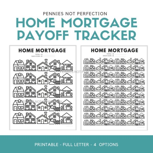 Mortgage Payoff Tracker Printable | Home Loan Payoff Chart Tracker