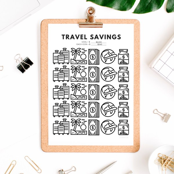 Travel Savings Goal Tracker | Travel Fund Savings Tracker Printable PDF