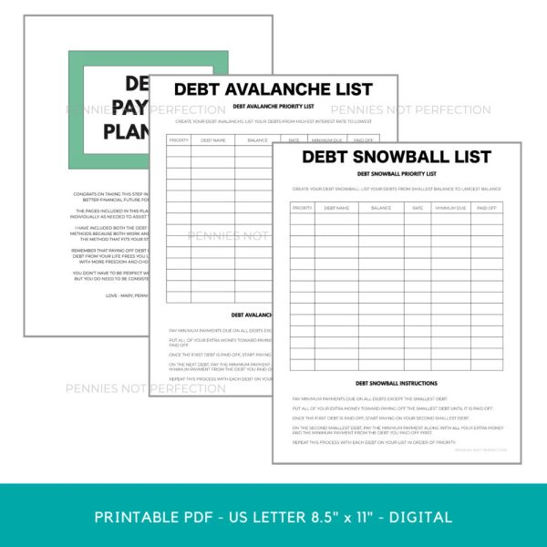 Debt Payoff Planner, Debt Tracker Printable, Payoff Bundle, Debt Snowball, Debt Avalanche, Debt Free Charts Planner PDF Printable Inserts 5