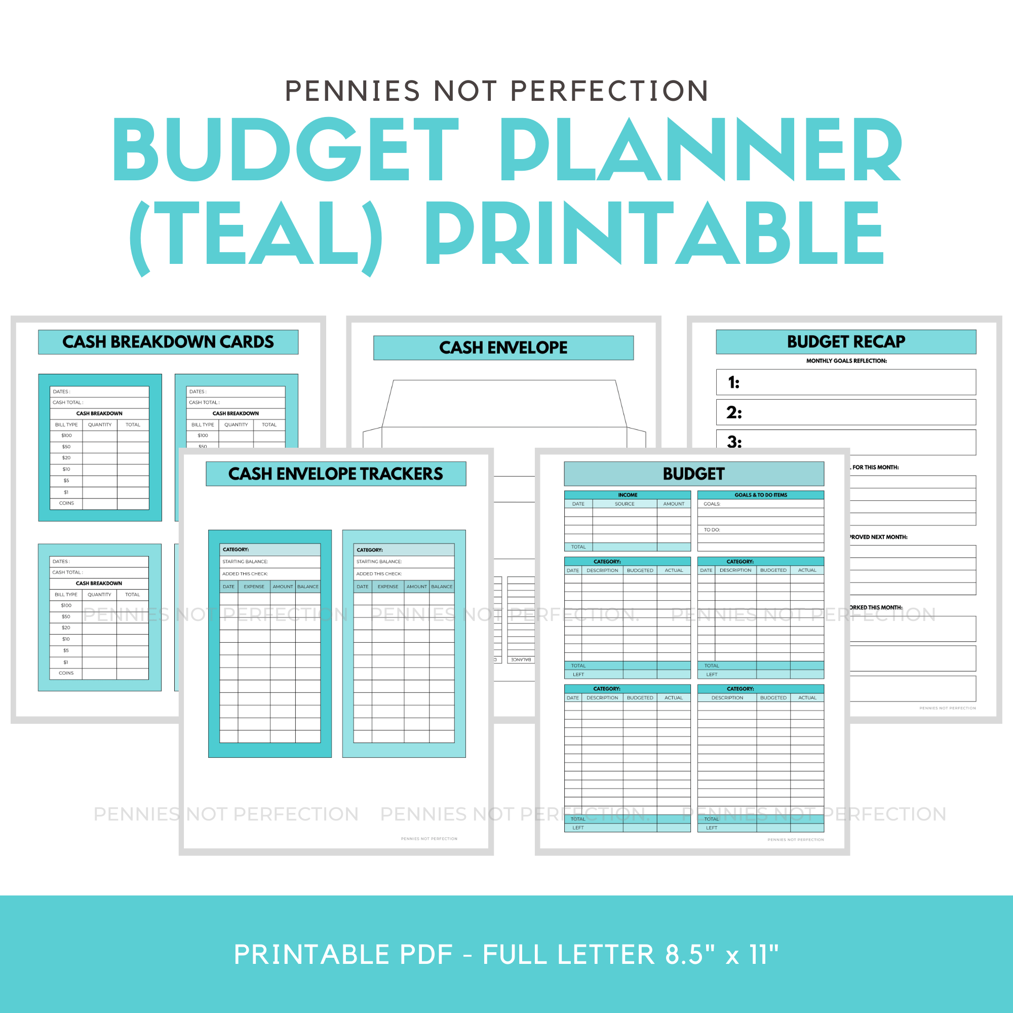 Teal Monthly Budget Paycheck Budget Printable Planner