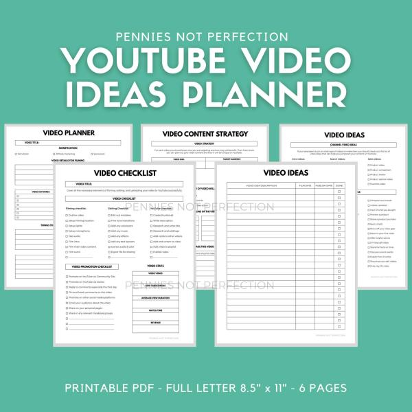 YouTube Video Ideas Planner | Video Series Planner & Checklist Printable | Video Content Ideas Planner