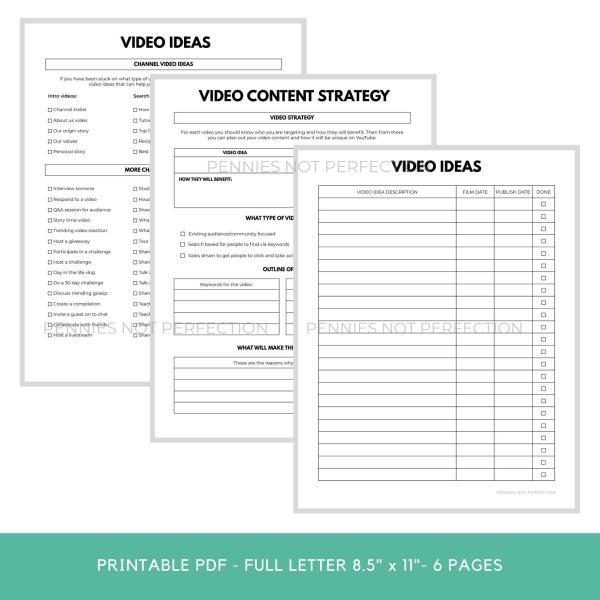 YouTube Video Ideas Planner | Video Series Planner & Checklist Printable | Video Content Ideas Planner 5