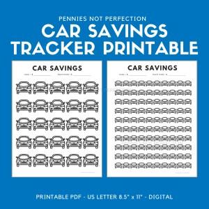 Car Fund Savings Tracker | Car Savings Goal Tracker | Savings Printable PDF 1