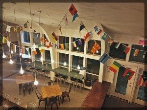 Dining area of HI hostel, Austin