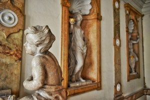 angel statue in mirabell palace, salzburg, austria