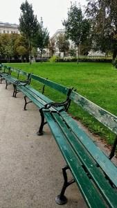 Benches to relax in Burggarten in Vienna, Austria